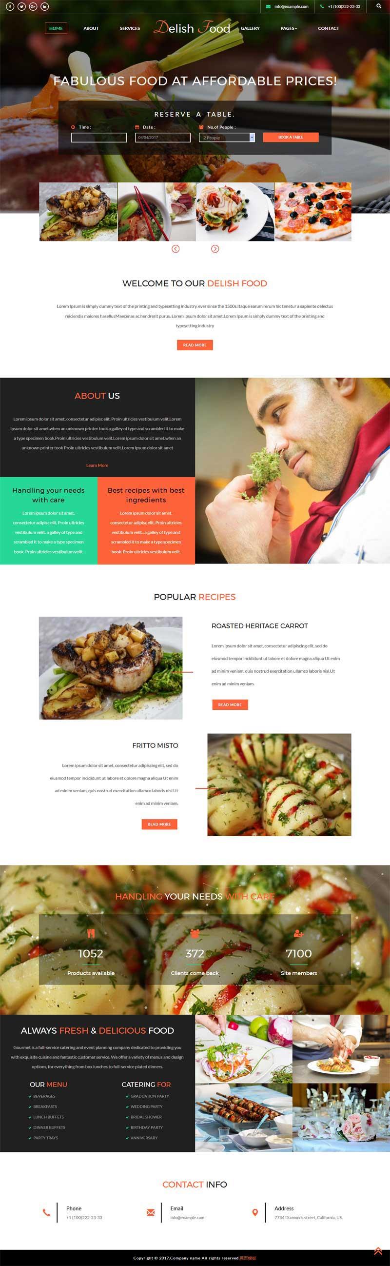 宽屏的西餐美食产品展示网页模板下载