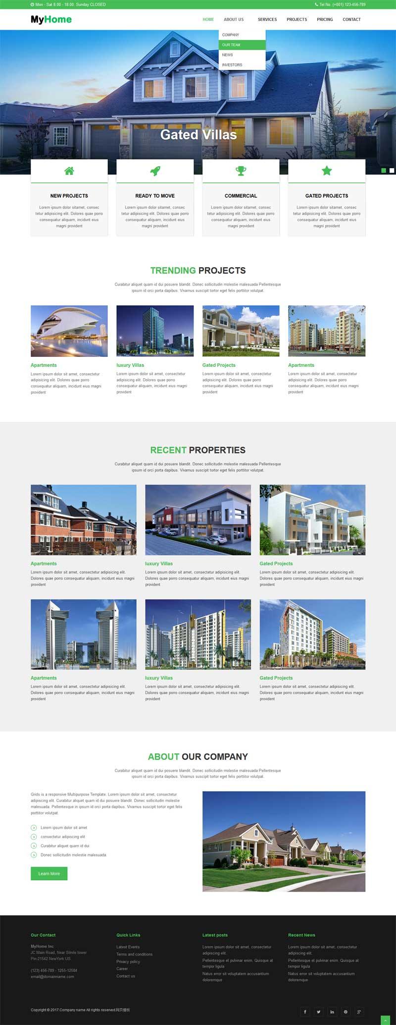 绿色大气的房地产建筑公司网站静态模板