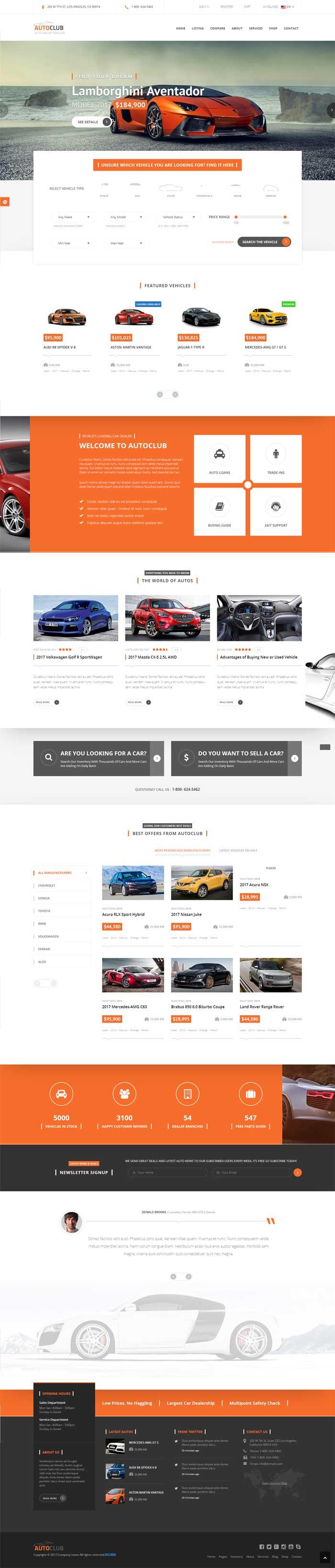 橙色大气的4S店汽车销售网站模板html整站