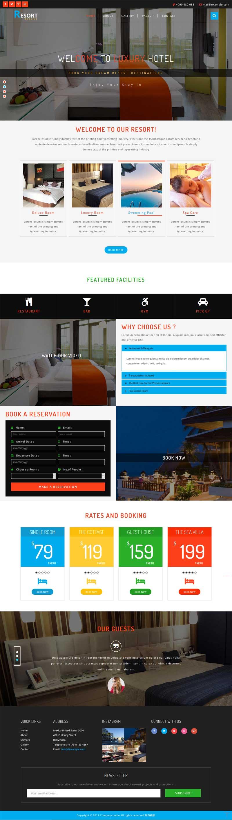 大气的国外旅游度假酒店预订网站模板下载