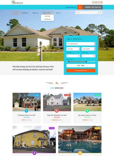 简洁大气公寓房屋出租公司网站模