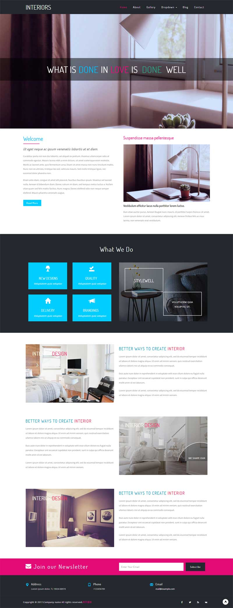 简洁的室内设计公司网页静态模板