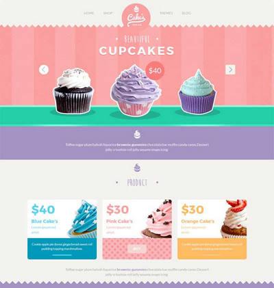 卡通可爱风格的甜品蛋糕店网站展示模板