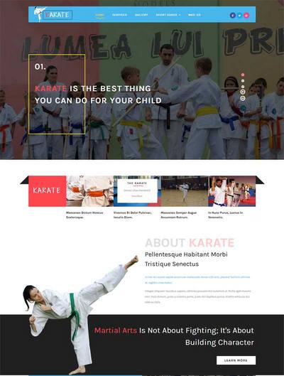 宽屏儿童跆拳道培训教育网站模板下载
