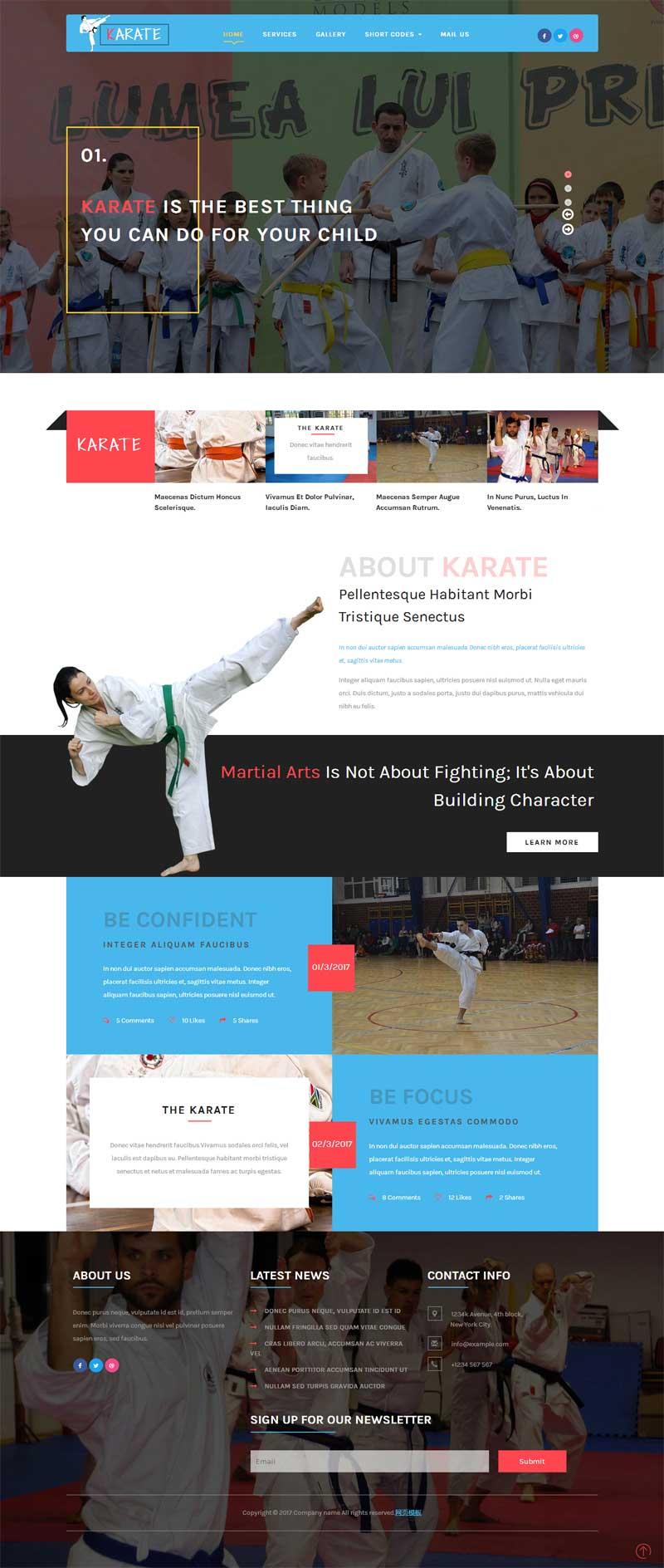 宽屏的儿童跆拳道培训教育网站模板下载