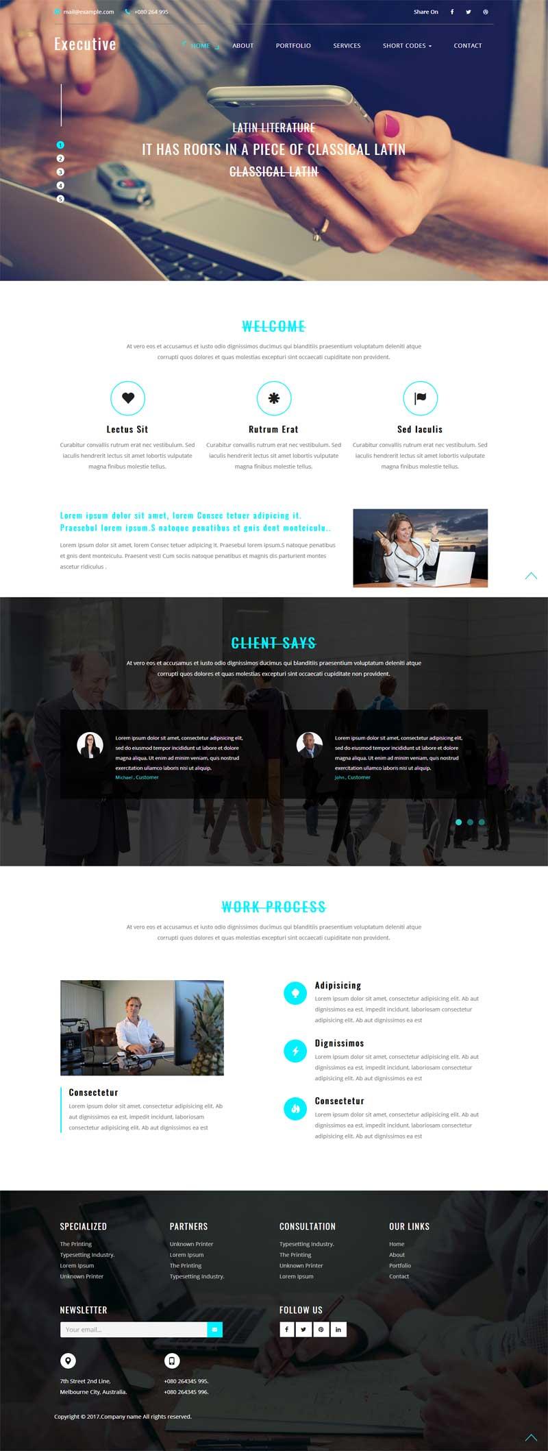 宽屏响应式的商务合作公司网站静态模板