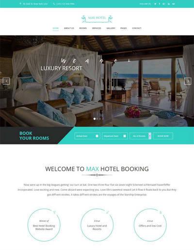 大气旅游度假酒店网站模板html源码