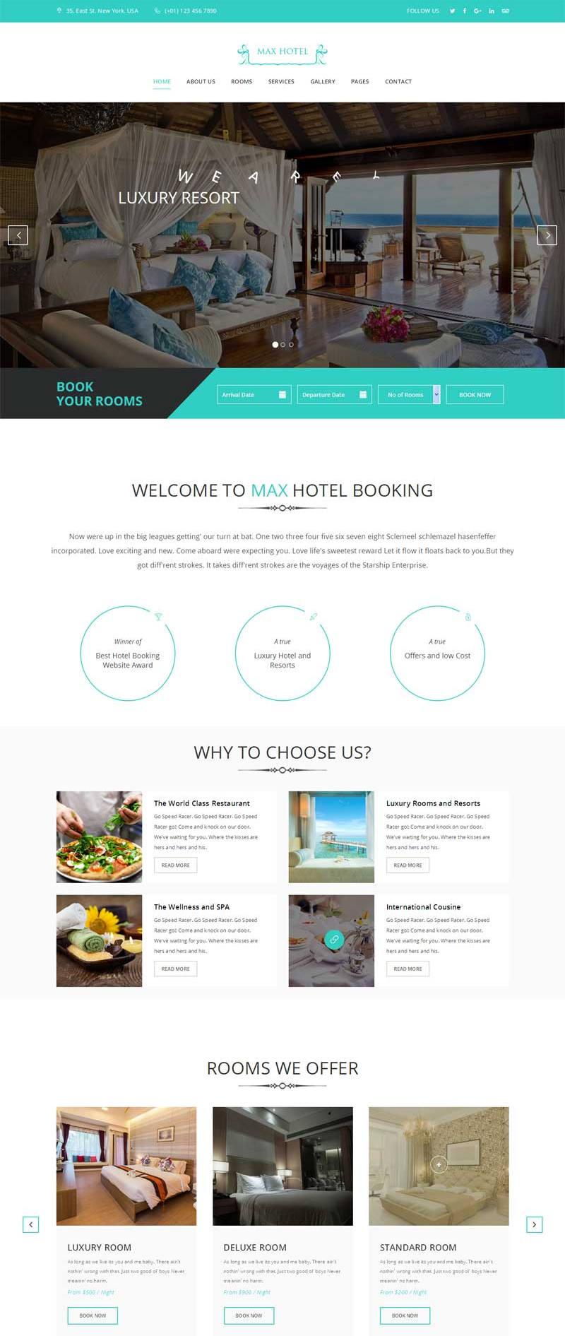 蓝色大气的旅游度假酒店网站模板html源码