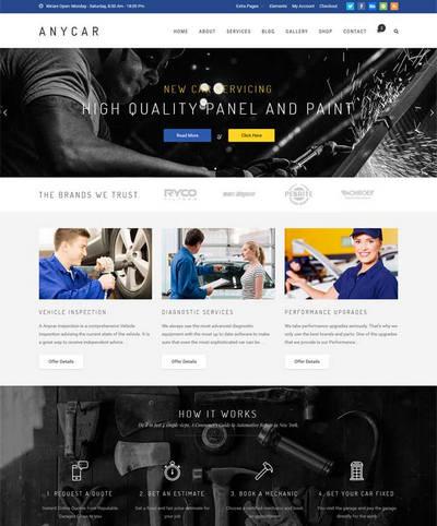 大气汽车维修公司网站模板html整站
