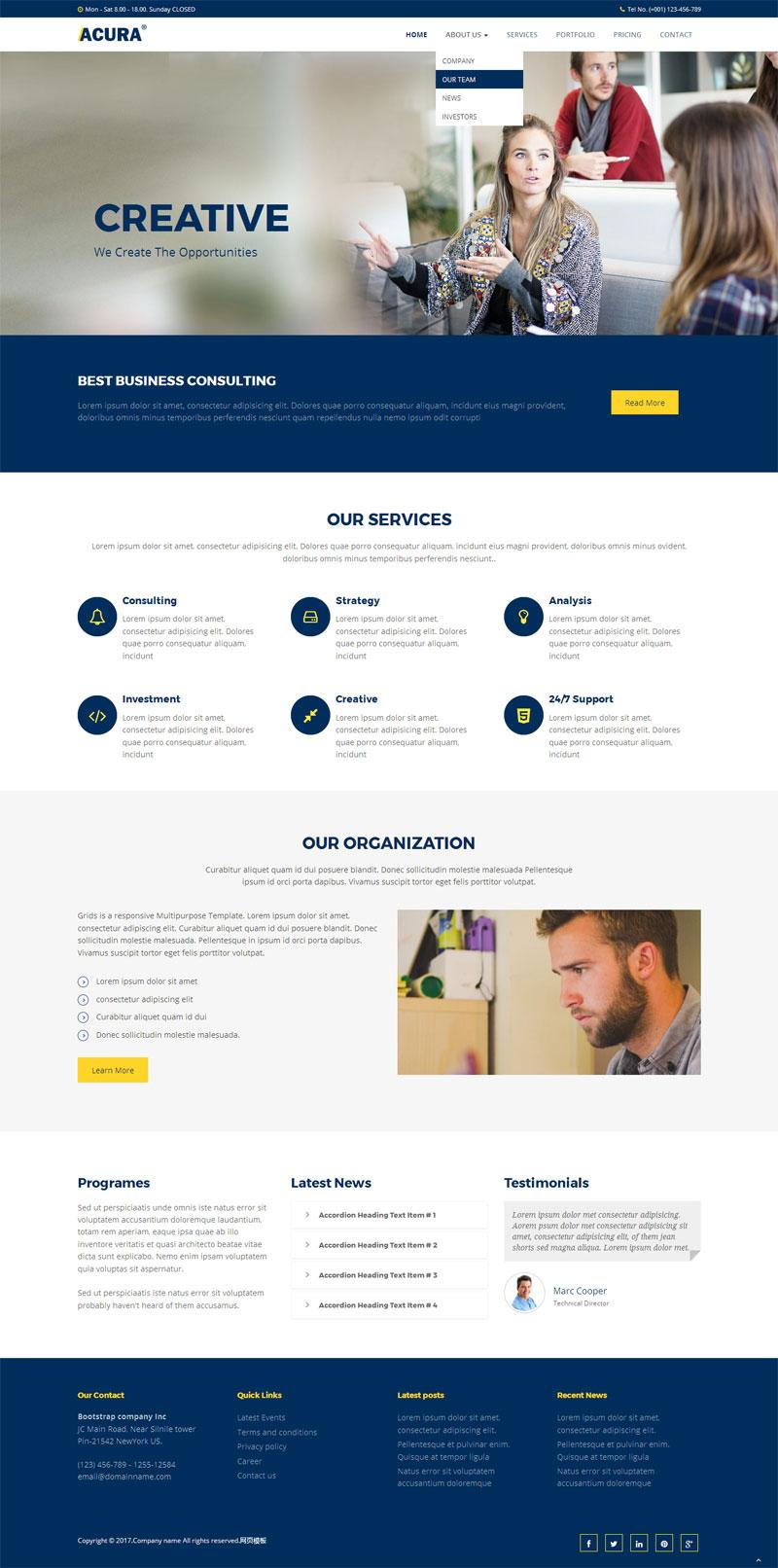 蓝色的国外教育培训网站静态模板