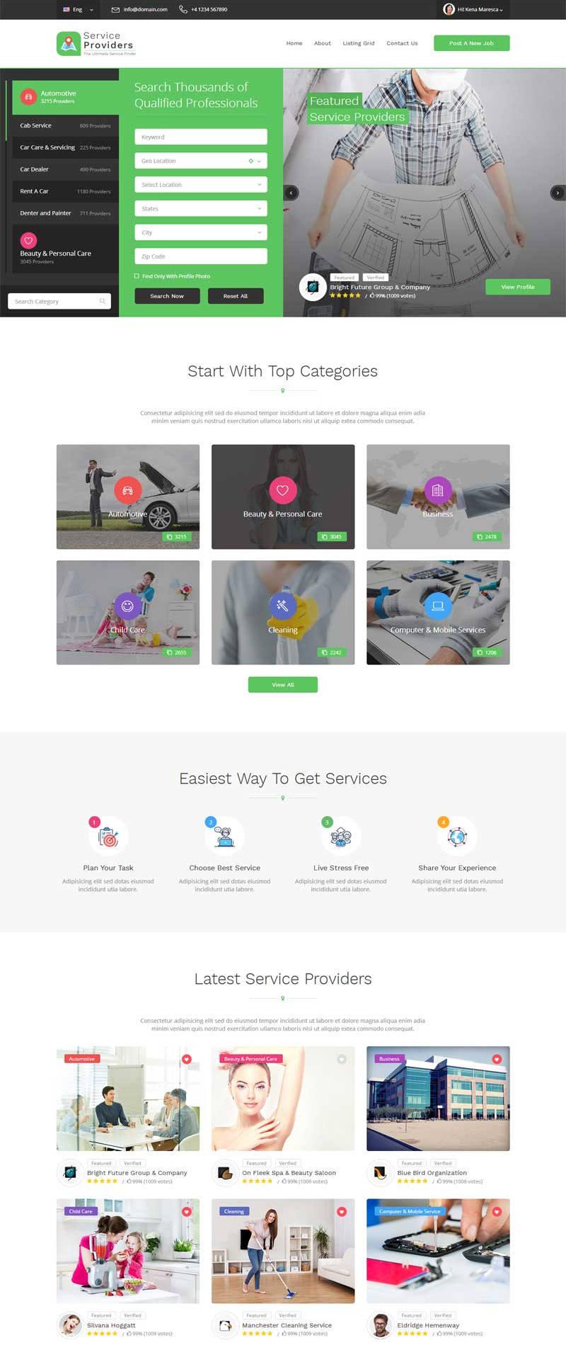绿色的导航定位服务公司网站静态模板