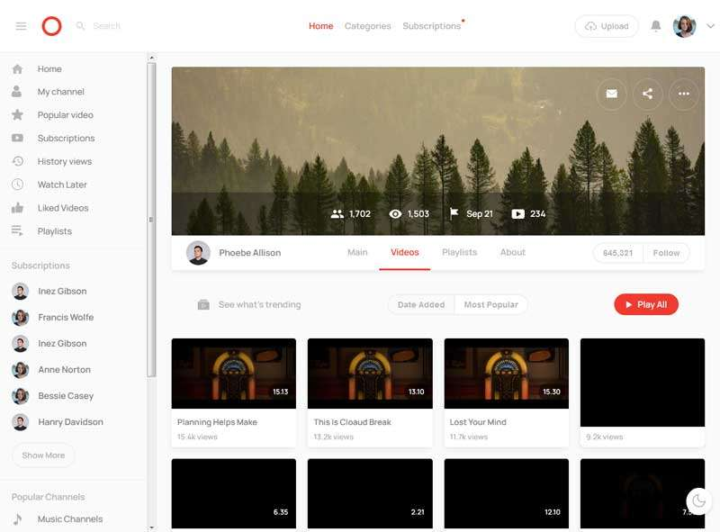 简洁的视频分享平台ui布局模板