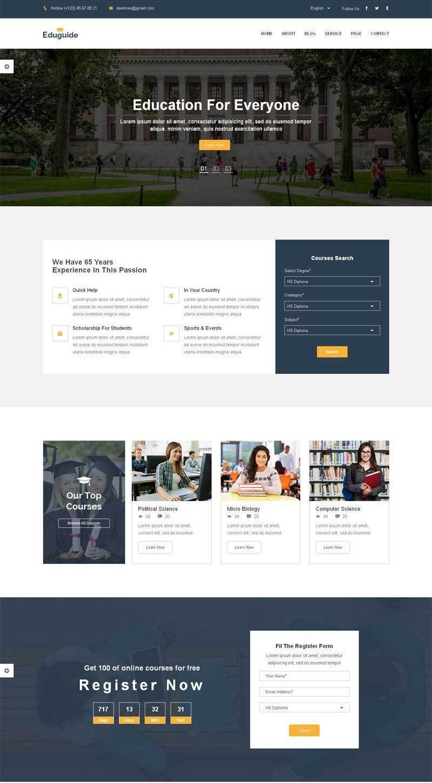 扁平化国外大学教育机构网站模板html整站