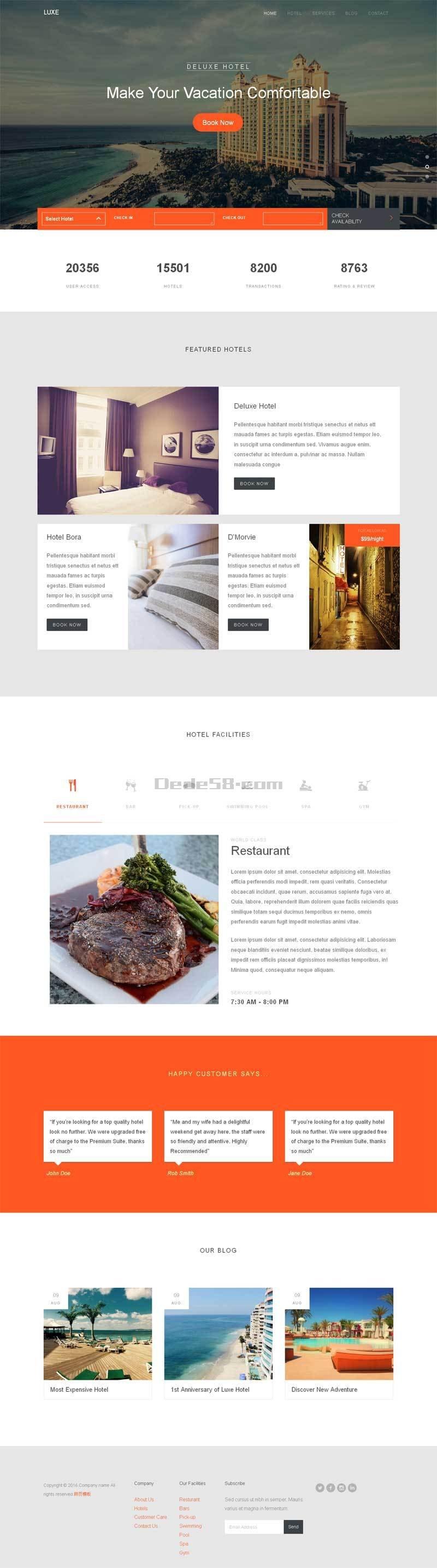 简洁大气的五星级酒店预订介绍网页模板