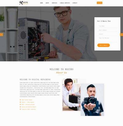 手机电脑维修服务公司网站html5模板