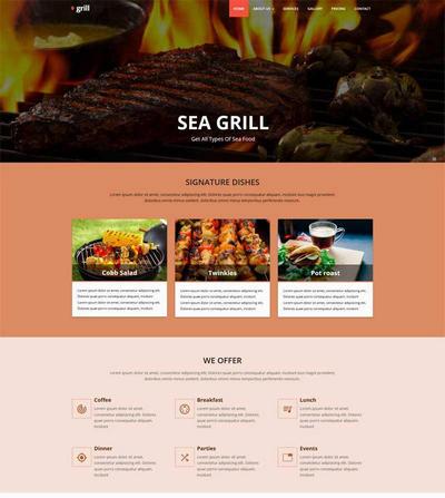 大气的bbq烧烤餐厅网站模板html