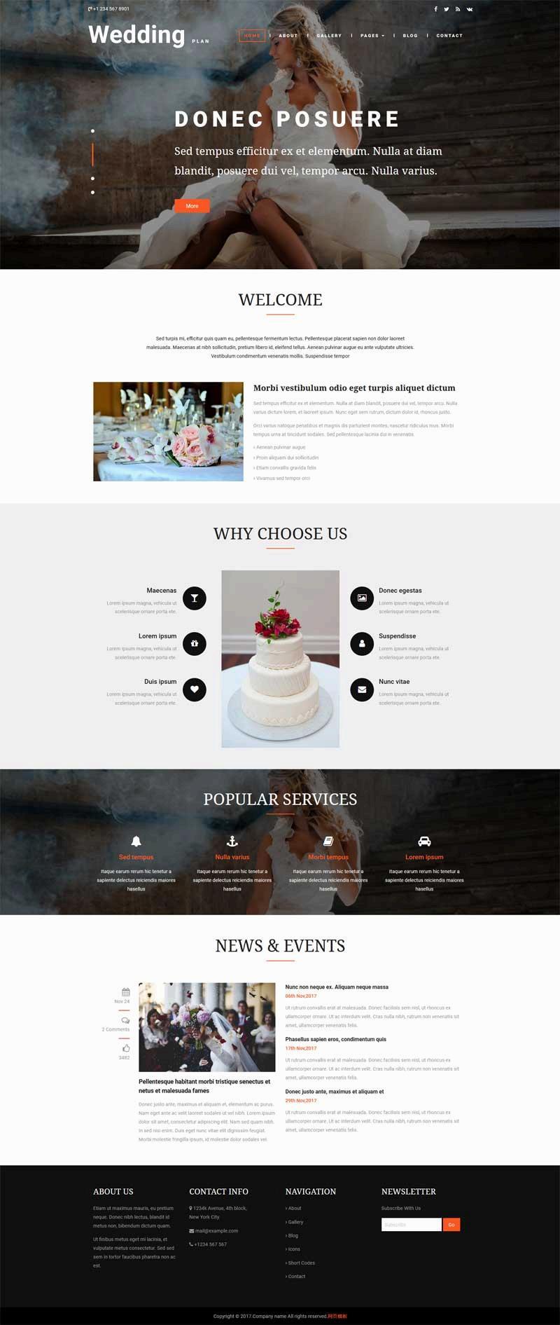 大气的婚礼策划布置公司网页模板下载