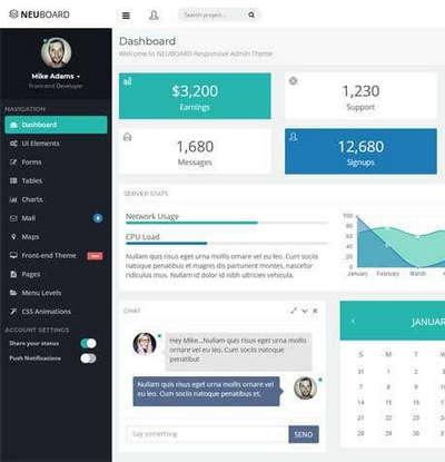 扁平化的企业博客后台管理Bootstrap模板
