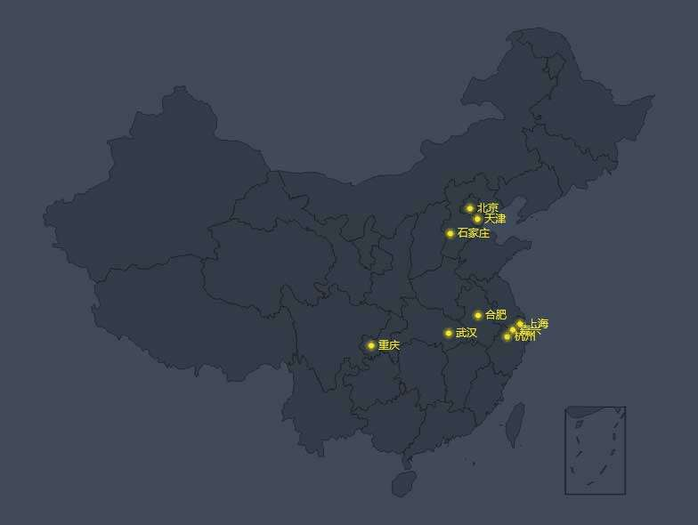 echarts全国销售城市标注地图特效