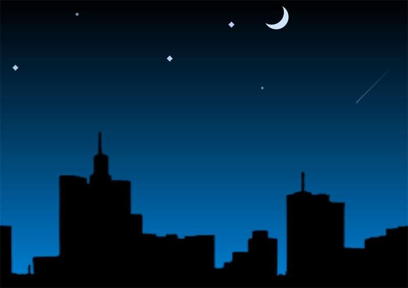 城市月亮流星滑过场景动画特效