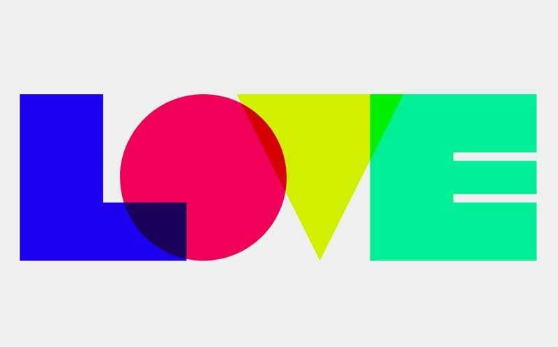 创意的几何love字母特效