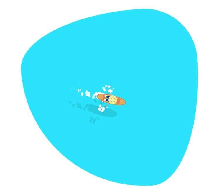 卡通夏天海上划船ui特效