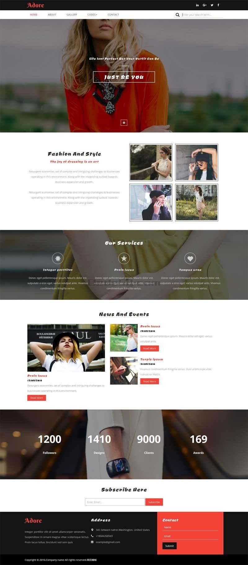 大气的时尚女性服装设计公司网站模板html下载