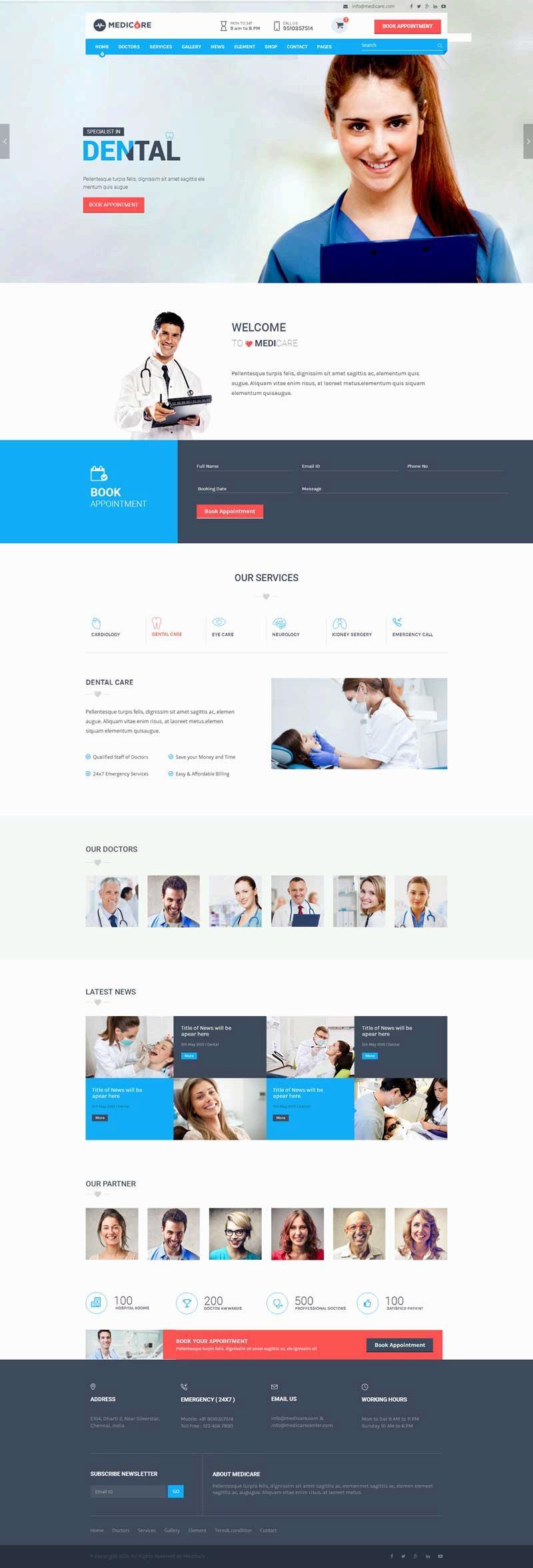 大气的医疗服务网站模板html整站