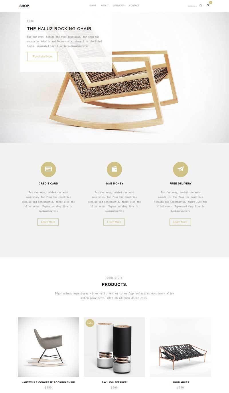 大气简洁的生活家具公司展示html5模板