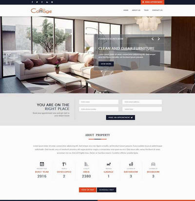 大气宽屏公寓房产销售html网站模板