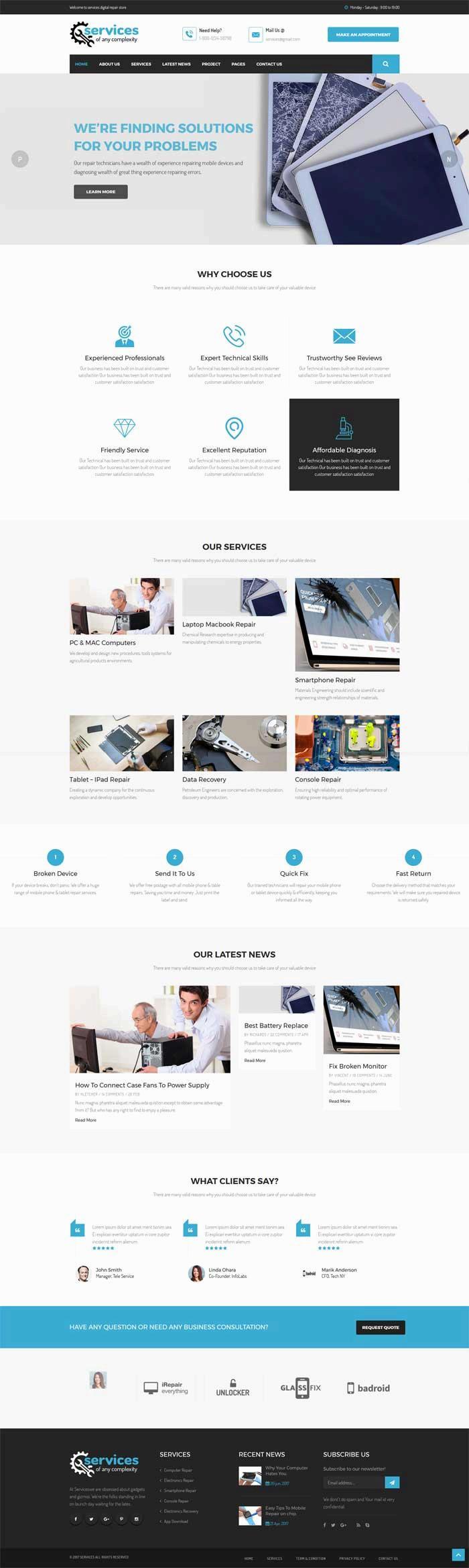 大气宽屏的手机电脑维修公司网站模板