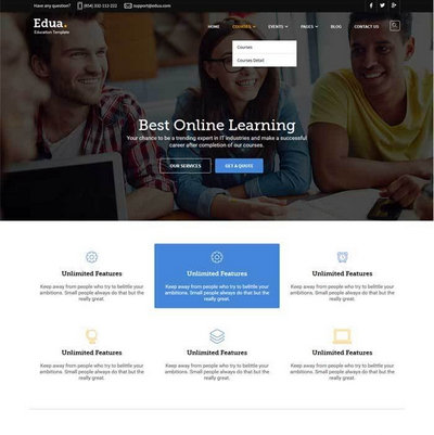 大气响应式国外学校教育网站模板下载