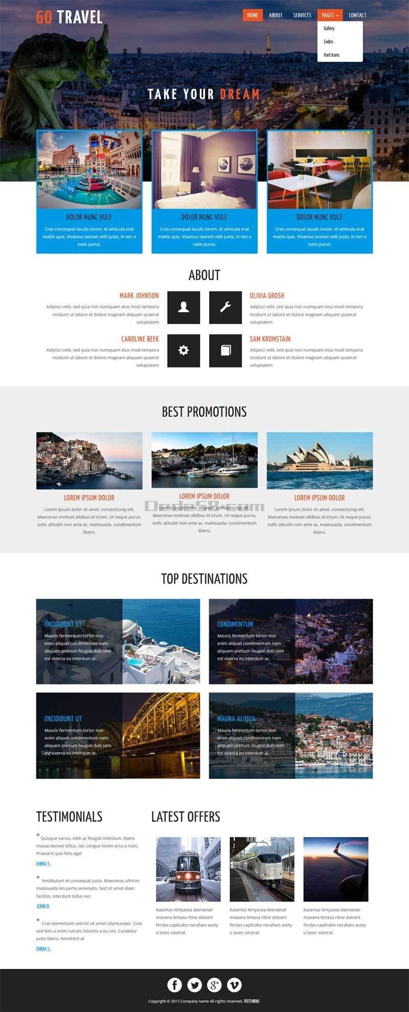 国外著名旅游景点介绍网站静态模板下载