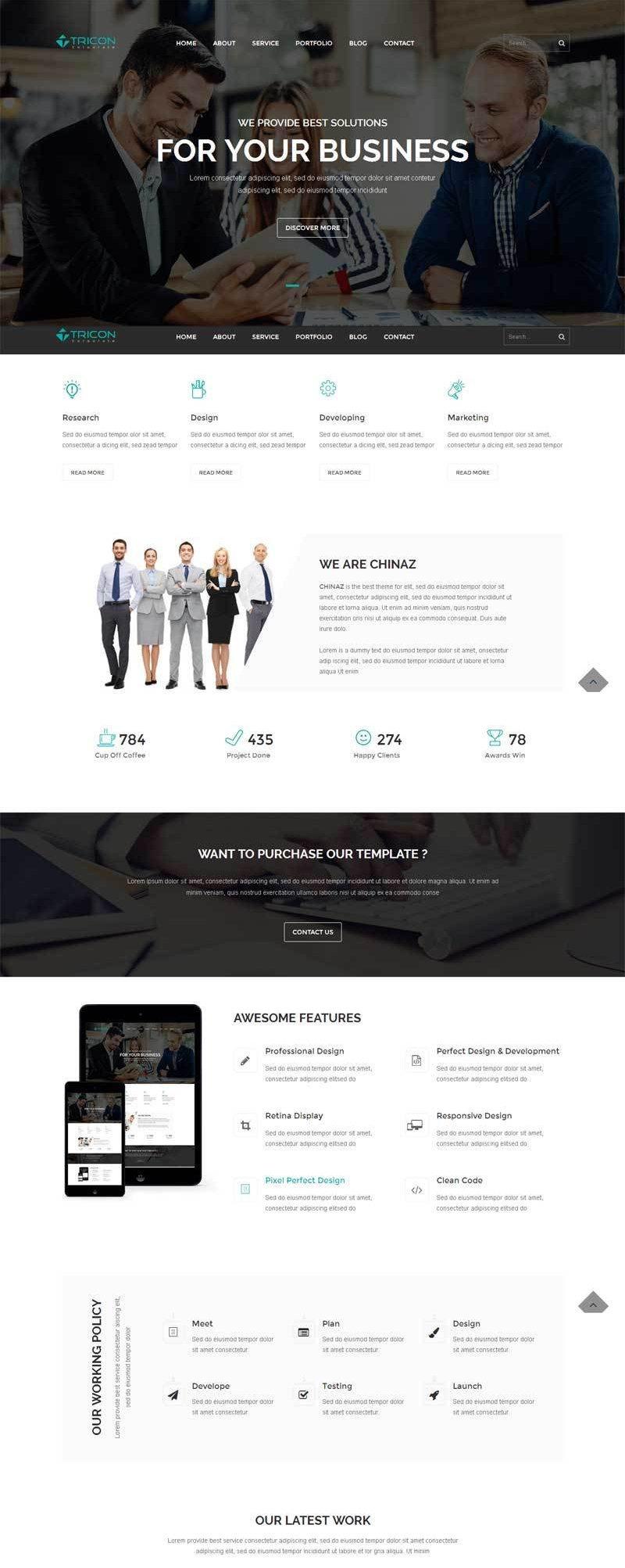 黑色大气html5商务团队合作公司网站模板