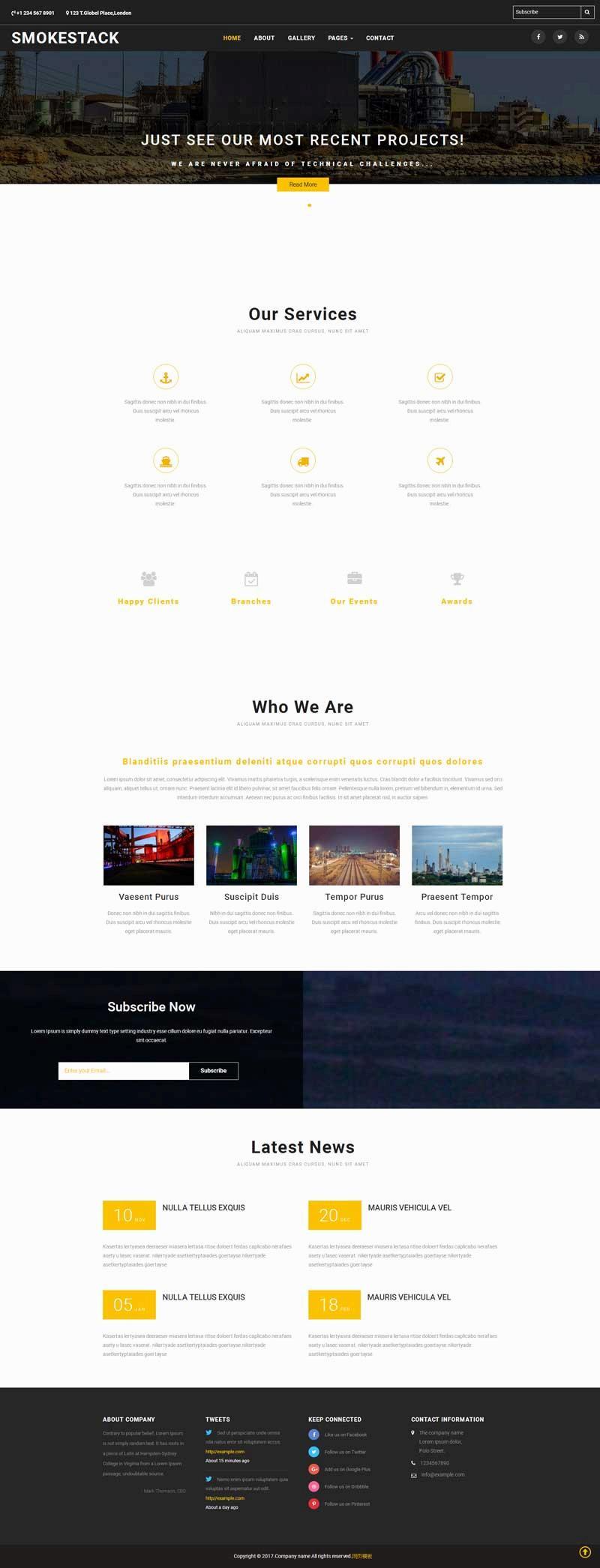 黑色的工业生产类企业网站html模板