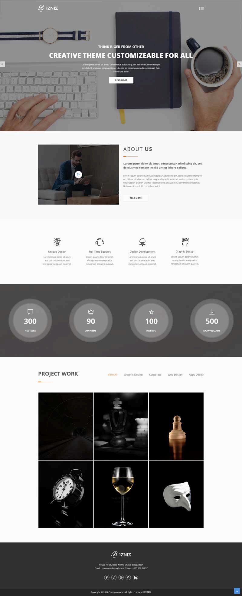 黑色简洁的产品设计公司网站模板