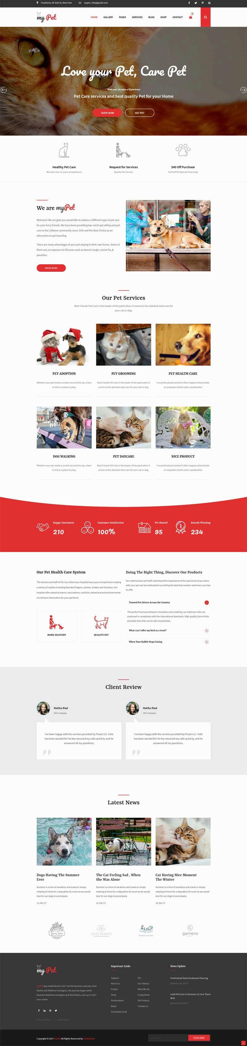 红色大气的宠物兽医网站模板