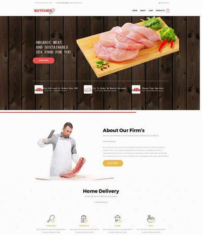 宽屏肉制品销售公司网站模板
