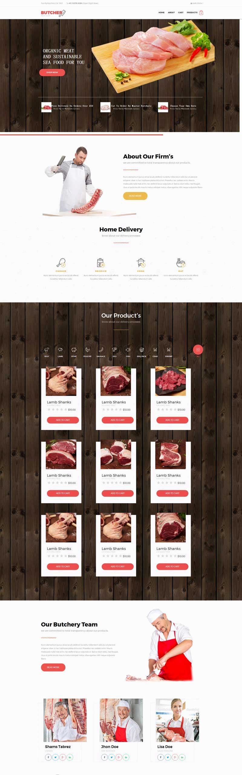 红色宽屏的肉制品销售公司网站模板