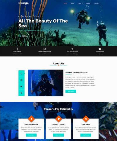 简单大气海底潜水服务公司html网站模板