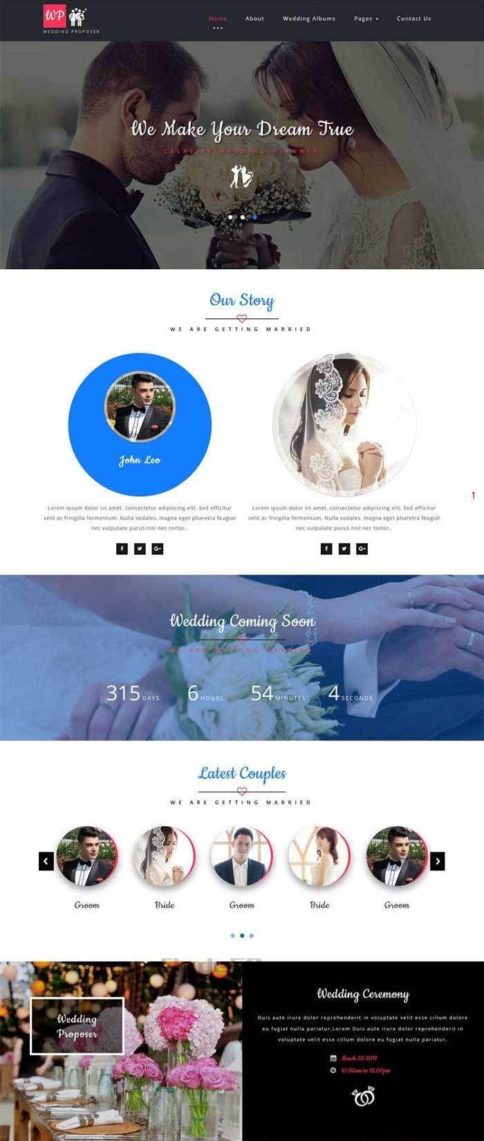 简单大气的婚纱摄影婚庆公司网站模板