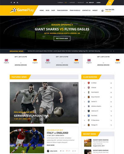 扁平足球运动比赛资讯html网站模板