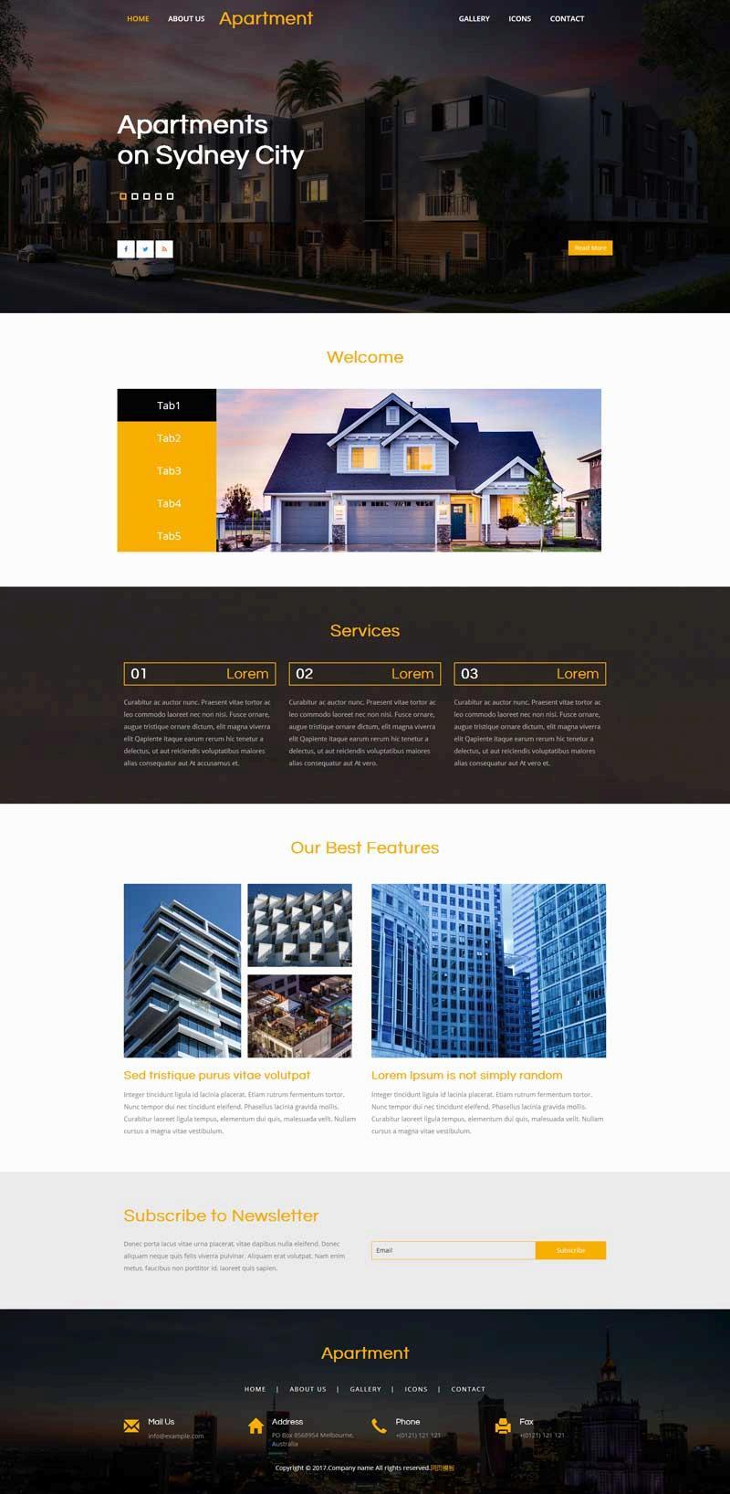 简单的房屋建筑设计展示网站html模板