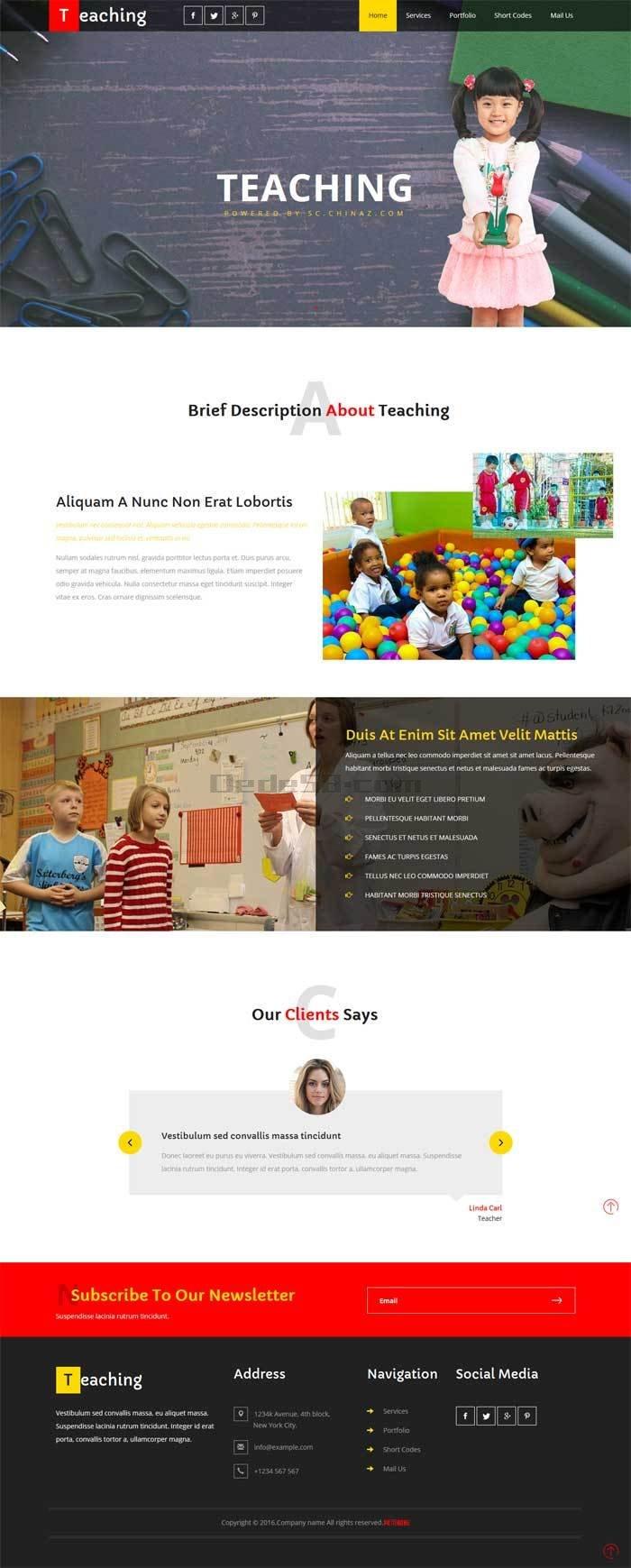 国外宽屏的儿童教育网站静态模板下载