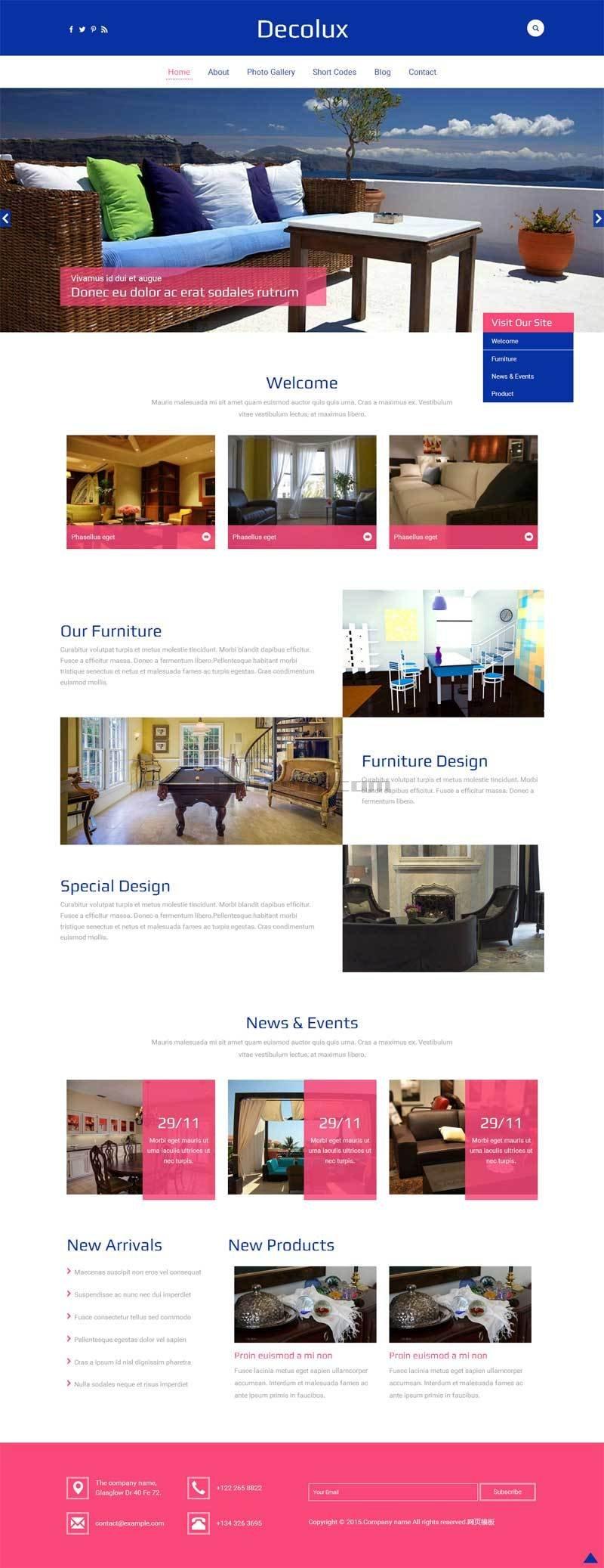 简单宽屏的家居装饰用品网站模板html整站
