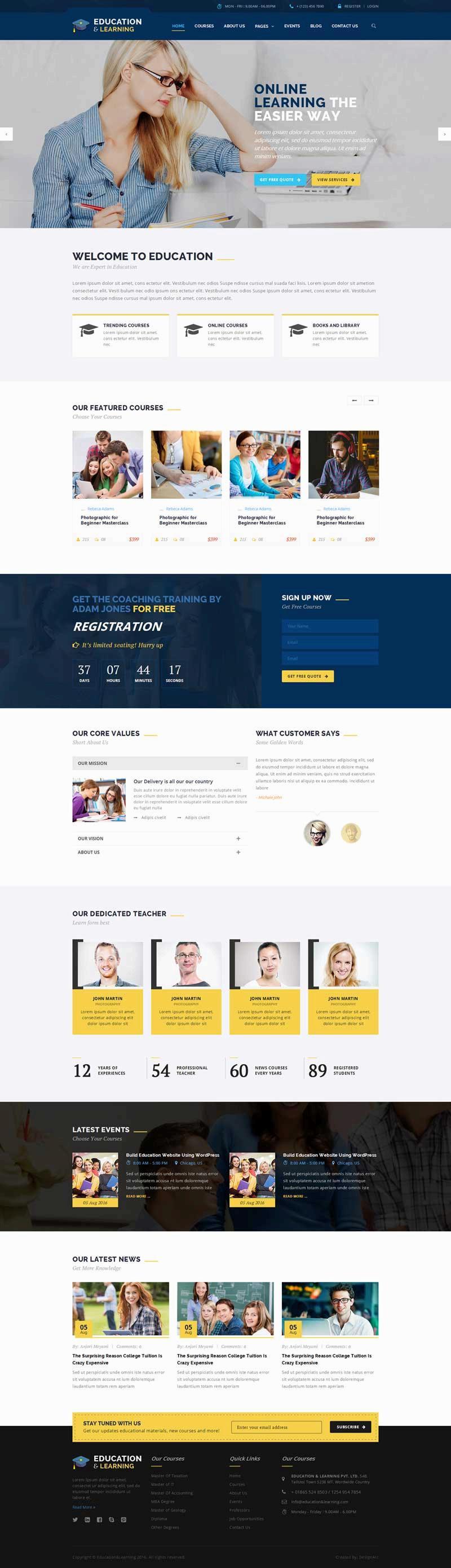 蓝色的在线销售课程教育培训网站模板