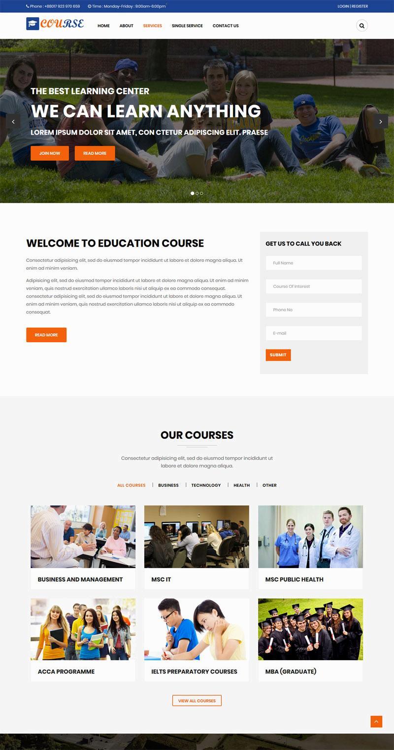 蓝色宽屏的高等教育学校网站静态模板