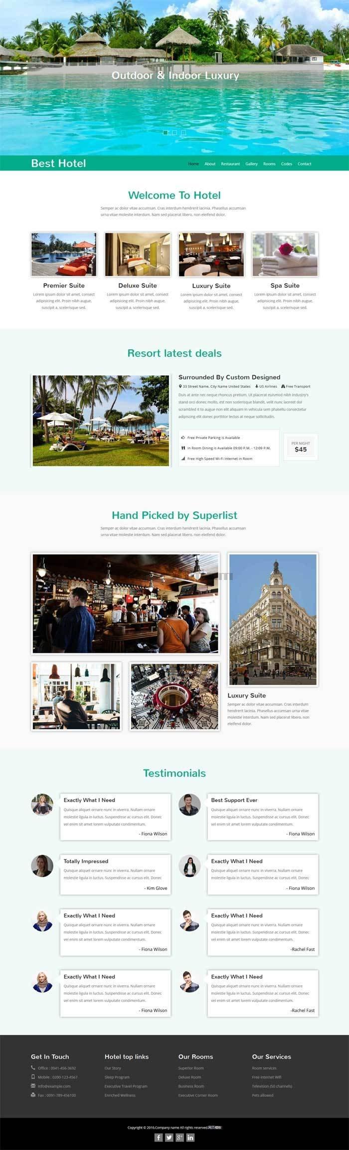 绿色大气的旅游度假酒店网站模板html整站