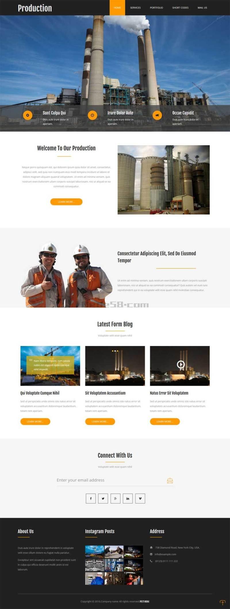 黑色的工业生产制造企业网站静态模板下载
