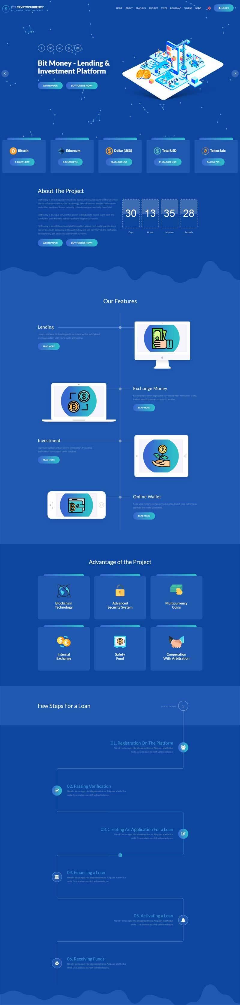 html5虚拟货币交易投资介绍网站模板